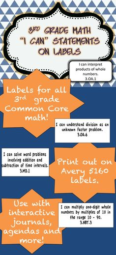 Perfect for Interactive Math Journals --  ALL 3rd grade common core standards on Avery 5160 labels!  Download the preview for 2 free pages!