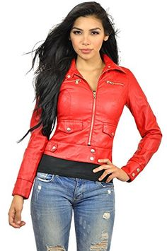 Look at this Red Faux Leather Motorcycle Jacket by Elegant Fall Outfits, Fashion Outfits, Faux Leather Jackets, Crinkles, Motorcycle Jacket, Elegant, Heron, Simple Style, Red Leather