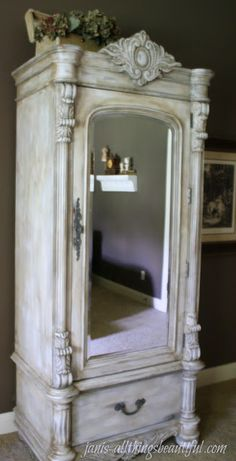 All Things Beautiful: Armoire {Painted Furniture} Makeover- you can mix the clear and dark wax together, instead of using the clear first, then the dark-scooped out 3 spoons of clear wax, 2 spoons of dark wax, then about 1 tablespoon of French Linen paint.