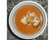 Laurie's tomato soup with homemade croutons