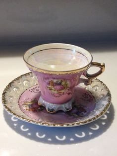 Vintage Royal Crown Footed Teacup and by VisualaromasVintage