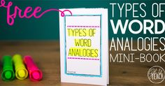 Tips for teaching anaolgies. Includes FREE Types of Analogies Mini-Book . English/language arts