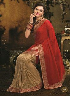 72b1b6f46d red and brown plain georgette saree with blouse - Manjula Feb - 417654