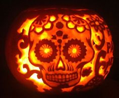 Skeleton pumpkin carving