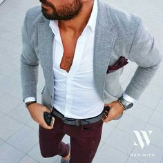 gray blazer + white shirt