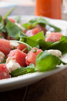 What a great combination!  Feta, Watermelon, and Arugula.
