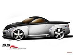 2004 Asc Ssr Diamondback Based On Chevrolet Ssr Side Drawing Chevy Ssr, Chevy Trucks, Pickup Trucks, Sexy Cars, Hot Cars, Custom Trucks, Custom Cars, Super Sport Cars, Truck Art