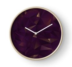 Clock. Inspired by rought Amethyst crystals. Geometric Abstract pattern in Purple and gold shimmers. Find this pattern in different products, such as: apparel, fashion accessories, stationary, gift ideas, mugs, wall art, home decor and much more!