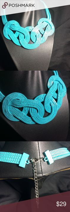 Light blue necklace. Light blue flat knotted necklace. Accessories