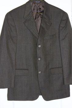 Men's Jones New York Brown Herringbone Wool Cashmere SportCoat Blazer Jacket 38S #JonesNewYork #TwoButton