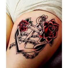 35 Stunning Anchor Tattoos (With Rich Meaning) ❤ liked on Polyvore featuring accessories, body art and tattoos