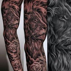 Amazing artist Jun Cha lion tattoo sleeve 12! #finelineblackandgrey…