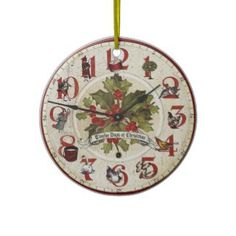 Shop Vintage Twelve Days of Christmas Large Clock created by GrafixMom. Christmas Clipart, Christmas Themes, Christmas Crafts, Christmas Decorations, Christmas Ornaments, Christmas Images, Christmas Printables, Christmas Stuff, Christmas Clock