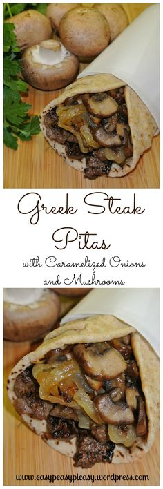 Greek Steak Pitas with Caramelized Onions and Mushrooms. 1 to 1 lb top sirloin steak, cut in thin strips 1 teaspoon dried oregano 1 teaspoon Cavender's Greek Seasoning teaspoon salt and pepper 2 large onions, sliced 8 fresh baby portabella mushroo Greek Recipes, Meat Recipes, Cooking Recipes, Oven Recipes, Steak Sandwich Recipes, Steak Sandwiches, Fondue Recipes, Kabob Recipes, Recipies