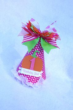 Pink Pumpkin Halloween birthday party hat in by LittlePinkTractor, $15.50