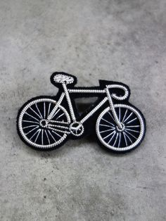 Hand Embroidered Bicycle Brooch by Macon & Lesquoy