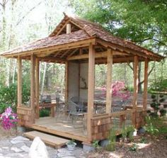 It is very powerful what these folks did with this layout and plan. What a wonderful concept for a gazebo. Hot Tub Gazebo, Gazebo Canopy, Gazebo Pergola, Japanese Pergola, Japanese Garden Design, Japanese Gardens, Bungalow, Japanese Style House, Gazebo Plans