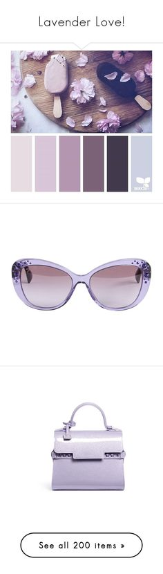 """Lavender Love!"" by kikikoji ❤ liked on Polyvore featuring design seeds, fillers, accessories, eyewear, sunglasses, glasses, purple, purple lens glasses, versace eyewear and embellished sunglasses"