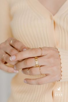 We love a good dainty ring look and this is no exception! Our seashell band ring is worn with our slim stacking rings. So cute! Dainty Gold Rings, Dainty Jewelry, Initial Necklace, Stacking Rings, Band Rings, Sea Shells, Studs, Slim, Sterling Silver