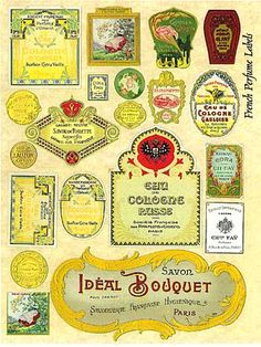 Another Passenger: Perfume labels (may need resizing) Vintage Labels, Vintage Ephemera, Printable Vintage, Miniature Crafts, Miniature Dolls, Printable Labels, Printables, Minis, Barbie Accessories