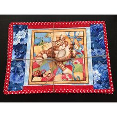 Playful Kitties Placemats Set of 6, Quilted, Reversible with Red... (€29) via Polyvore featuring cozeequilts
