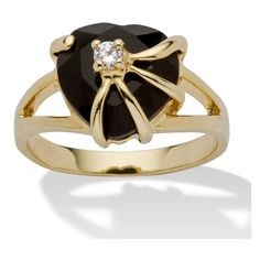 PalmBeach Jewelry Onyx CZ Accent 14k Gold-Plated Cocktail Ring ($28) ❤ liked on Polyvore featuring jewelry, rings, black, jewelry & watches, 14k ring, onyx cocktail ring, 14k cz rings, heart ring and cz cocktail rings