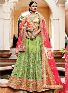 Discover the latest in stunning designer lehenga choli online. Buy this magnificent embroidered, patch border and resham work net a line lehenga choli.