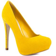 Steven by Steve Madden Women's Vyperr - Yellow Nubuck (£105) ❤ liked on Polyvore featuring shoes, pumps, heels, sapatos, high heels, platforms, stiletto heels, trendy, women and stiletto heel pumps