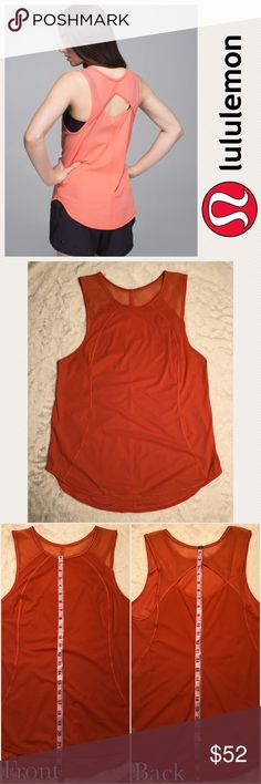 EUC [ Lululemon ] Sculpt Tank Fabric protects from sun and retains shape  Mesh paneling helps you stay cool  The shaped (hi-lo) hem helps keep the bum covered   Size: the rip tag is gone/there is no size tag, please see measurements; if I had to guess, I would say it fits like a S/M probably around size 6 but please check measurements  Color: the color was extremely hard to capture on camera; please see stock photos and no flash/flash photo  Released in Feb 2015  No trades! Negotiate…