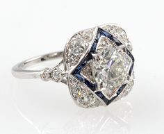 1stdibs | Art Deco Diamond and Sapphire ring.