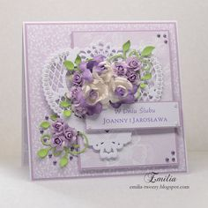 Emilia tworzy, Filigree card with flowers Wedding Cards Handmade, Beautiful Handmade Cards, Pretty Cards, Cute Cards, Marianne Design Cards, Spellbinders Cards, Shaped Cards, Wedding Anniversary Cards, Happy Birthday Cards