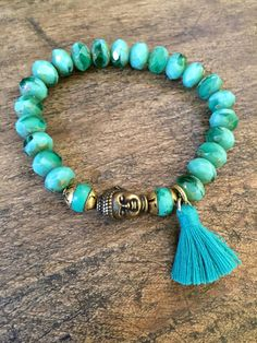 SALE Boho Buddha Tassel Stretch Bracelet Turquoise Beaded Bohemian Jewelry by Two Silver Sisters