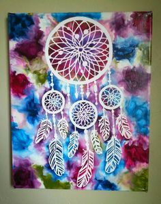 by kaylaskraftz on Etsy Dream Catcher Art, Dream Catcher Painting, Diy And Crafts, Arts And Crafts, Melting Crayons, Native American Art, Mandala Art, Diy Art, Art Lessons