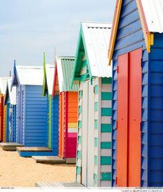 Beach Boxes on Brighton Beach. Brightly Coloured Beach Boxes on Brighton Beach, , Beach Cabana, Beach Bum, Summer Colors, Summer Fun, Summer Beach, Deco Marine, Beach Shack, Beach Cottages, Arquitetura