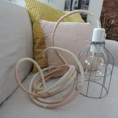 Lampe Baladeuse Céleste Rosée Cage Argent, cordon écru et rose nude - Céleste Rose LUM-254 - NiiÜ MooN Edition