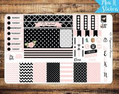 H Weekly Planner Stickers Pink and Black от PeppermintPlanner
