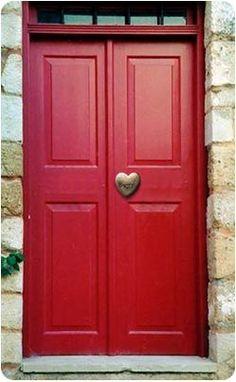 Red Door with Beautiful Heart Knob...