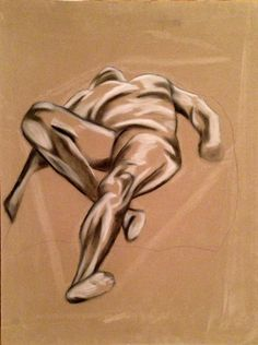 Reclining nude dude chalk and charcoal drawing on by NautilusNook, $150.00