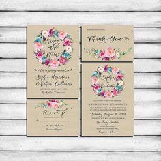Invitation suite kit mariage Invitation Boho rustique fleurs
