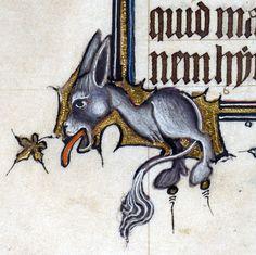 bipedal donkeyBohun Psalter, England ca. 1356-1373British Library, Egerton 3277, fol. 36v