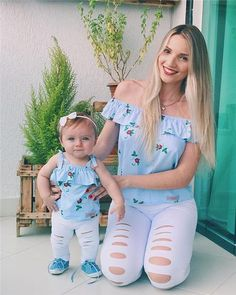 PUDCOCO Stylish Floral Mother and Daughter Matching Outfits