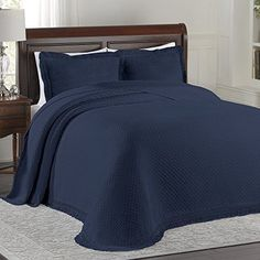 NEW-King-Bedspread-Lamont-Home-Navy-BLUE-120x120-Woven-Jacquard-Solid-Classic