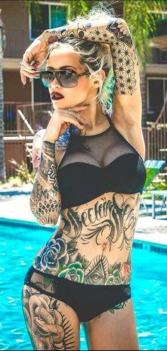 Get Inspired by tattoo girls Hot Tattoos, Body Art Tattoos, Girl Tattoos, Tattoos For Women, Tattooed Women, Parent Tattoos, Tattoo Art, Tattoed Girls, Inked Girls
