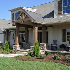 The Meadows ~ Wooster, OH - traditional - Exterior - Other Metro - Weaver Custom Homes House Paint Exterior, Exterior Paint Colors, Exterior House Colors, Exterior Design, Stone Exterior, Craftsman Exterior, Custom Home Designs, Custom Homes, Custom Design