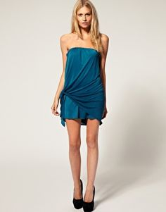 ASOS Petite exclusive bandeau dress with tie side