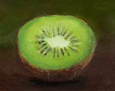 oil pastel paintings | Custom Framed Original Oil Pastel Painting of a Kiwi Fruit on an ...