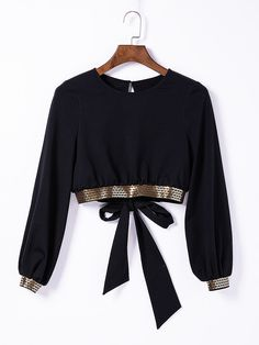 Black Full Sleeve Hollow Out Self-Tie Back Top Blouse With Sequins Edge : It is long sleeves hollow out top blouse with bow on the back and sequins on the edge,which will be your perfect item for daily wear,matched with denim pants,very chic look. Black Blouse Designs, Blouse Neck Designs, Girls Fashion Clothes, Teen Fashion Outfits, 80s Fashion, Fashion Wear, Long Blouse Outfit, Stylish Dresses, Stylish Outfits