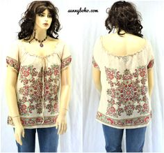 Linen boho top / blouse XL cream peasant by SunnyBohoVintage