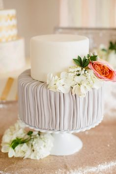 Small and pretty gray and white cake