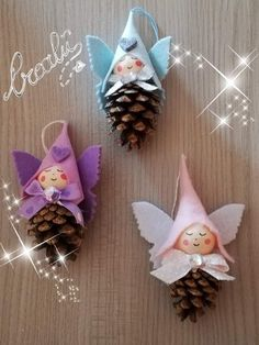 Christmas Decorations For Kids, Christmas Ornament Crafts, Felt Christmas, Homemade Christmas, Christmas Projects, Easter Crafts, Holiday Crafts, Fairy Crafts, Pine Cone Crafts